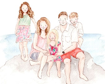 family portrait, illustration, custom portrait, wall decor, gift for family, christmas gift, custom illustration, anniversary gift