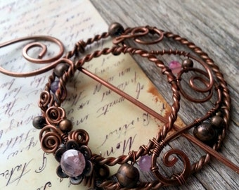 Round Shawl Pin Floral  Copper Fibula - Shawl Scarf Sweater Pin - Penannular - Wire Wrapped Brooch - Boho Gypsy - Art Nouveau