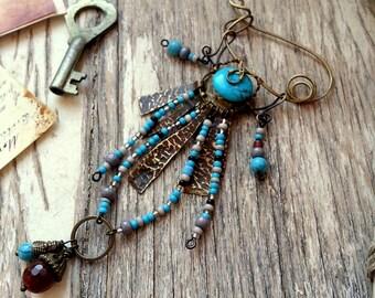Salvage Boho Shawl  Pin  - Brass Wire Scarf Sweater Pin -  Brass Fibula Wire Wrapped Jewelry Turquoise Assemblage Gypsy Tribal