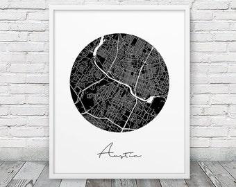 Austin City Street Map Poster. Austin Urban Map Print. Black White Austin Texas Map Print. Modern Map Travel Gift Home Decor. Printable Art