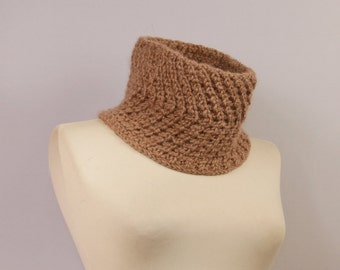 Knit Scarf, Infinity Chunky Scarf, Cowl, Beige, Brown, Merino Wool, Alpaca Mens Cowl, Gift For Her, Winter Women Accessories, Gift For Him