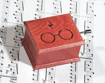 Harry Potter glasses and scars lightning music box red - soundtrack and design inspired handmade wooden music box