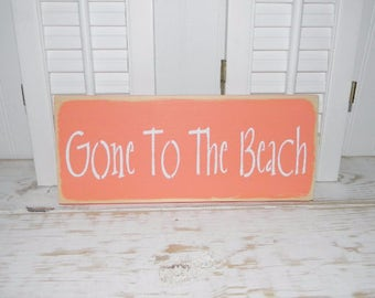 Gone To The Beach Sign Cottage Chic Wall Decor Turquoise