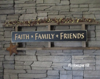 Hand Crafted Custom Rustic Country Primitive Ladder w/ Engraved Sign, Metal Barn Star(s) & Pip Berry Garland (Faith Family Friends)
