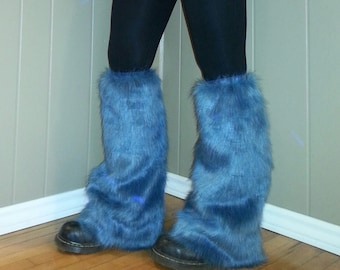Blue Fuzzy and Furry Faux Fur Leg Warmers,  Burning Man Fuzzy, Furry Boot Covers, Boot Toppers, Fun Rave Leggings for EDM