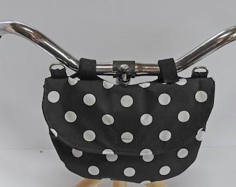 Bike Handlebar Bag / Cross shoulder Bag / Fanny Bag / Clutch Purse - Black Polka Dots