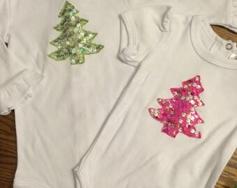 Infant Bodysuit • 3D Sequin Christmas Tree Applique • Pink • Lime • Baby Clothes