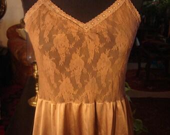 Vintage Light Brown Slip Dress Lingerie