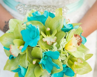 Orchid Wedding Bouquet- Beach Wedding Bouquet,  Tropical Bridal Bouquet - Made To Order- SOLD
