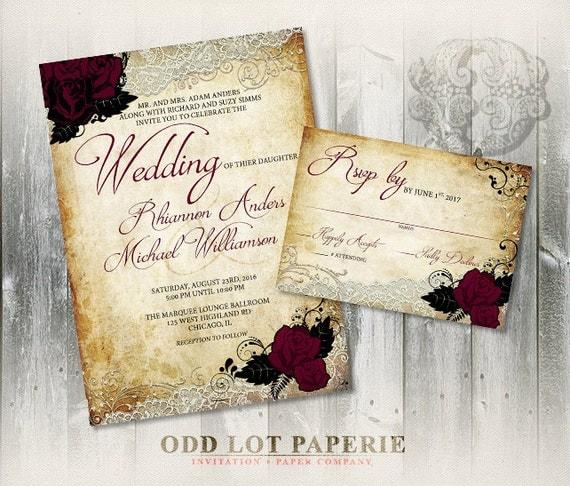 Rose wedding invitation set printable invitation for Free printable gothic wedding invitations
