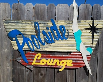 Poolside Lounge Mid-Century Retro Painted Flat Metal/Vintage Corrugated Barn Tin/  Sign