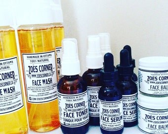 Complete Face Line - All Natural - Handmade - Face Wash - Face Toner - Face Serum - Face Balm