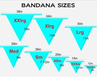 PET BANDANA SIZING chart