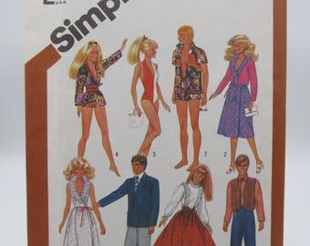 Vintage UNCUT Barbie Doll Clothes Pattern, 1970s McCalls Crafts Barbie Doll Sewing Pattern, Barbie and Ken Clothes,Barbie  Dress Pattern