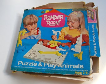 Vintage Romper Room Puzzle & Play Animals