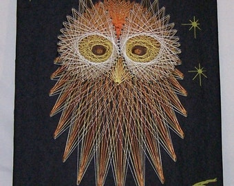 """Vintage Owl String Art 11"""" x 18"""" Wall Hanging 1970s"""
