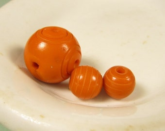 Orange Galalith Loose Beads - Vintage Art Deco Carved Bullseye Circle Round