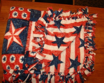 Patriotic Red White Blue Double Sided Fleece Blanket, no sew tied blankets, 4th of july, America USA, American flags, infant baby toddler