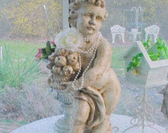 Cherub Statue Vintage Putti French Aged Distressed Pearls Roses Rhinestones Shabby Chic