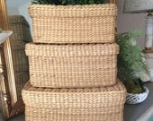 Vintage Wicker Rattan Rush Nesting Baskets Woven Nesting Baskets Large Oblong Wicker Nesting Baskets