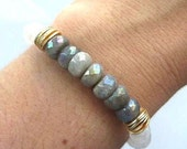 Reserved for Sabina/Faceted Labradorite Boho Bracelet, Stacking Bracelet