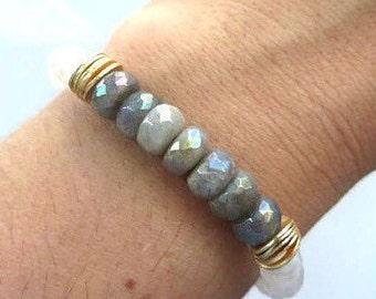 Beautiful Faceted Labradorite and Moonstone Stretch Bracelet, Boho Bracelet, Stacking Bracelet
