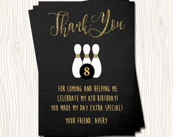 Bowling Gold glitter Chalkboard Birthday Party Thank You Card Note - Any Color