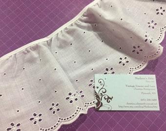 White Eyelet lace, 25 inches of 5 inch Ruffled White Eyelet lace trim for wedding, veil, bridal, housewares by MarlenesAttic - Item 6QQ
