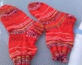 Hand knitted rainbow orange socks size 3/4 or 36/37