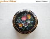 ON SALE Vintage Black Floral Round Tin