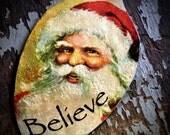 Christmas Spoon Pendant, Believe Santa, Vintage Santa Jewelry, Christmas Gift Tie-On, Stocking Stuffer, Believe Spoon Pendant