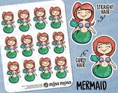 Light Skin Mermaid Swimming Planner Stickers White Caucasian Asian - Erin Condren, Happy Planner, Kikki K, Filofax, Decorative