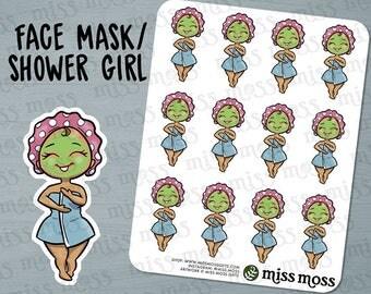 Tan Skin Cute Face Mask Shower Spa Planner Stickers, Latina Hispanic Boricua - Erin Condren, Happy Planner, Kikki K, Filofax, Decorative