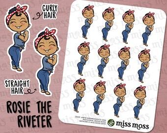 Tan Skin Rosie the Riveter Planner Stickers, Latina Hispanic Mixed - Erin Condren, Happy Planner, Kikki K, Filofax, Decorative