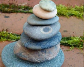 Awesome and Unique Beach Stone Stack 7 Natural Ocean Rocks Zen Stones Rock Art Meditation Therapy Yoga Gift Beach Home Decor Zen Garden Sea