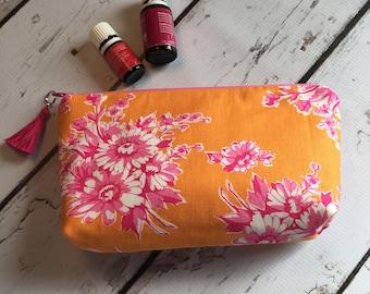 Ready to ship New Essential Oil bag, travel case, zipper bag Spring Orange Floral (12-14)