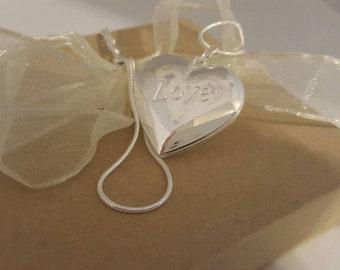 Sterling Silver Locket Heart Locket Love Engraved Locket Charm Locket Sterling Silver Heart Pendant Heart Charm Necklace Children's Jewelry