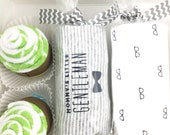 baby boy gift - Mommy's little gentleman - washcloth cupcakes gift box - 6 month