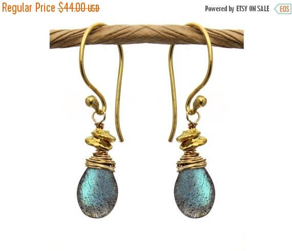20% off. Wire Wrapped Labradorite Earrings with Wire Wrapped Tiny Nuggets. Also in Silverite, Smoky Topaz, Gold or Silver E-1964-1