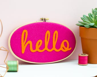 Hello pink and orange hoop wall art - Embroidery hoop art - textile art - Gift for friend - modern home decor - felt appliqué textile art