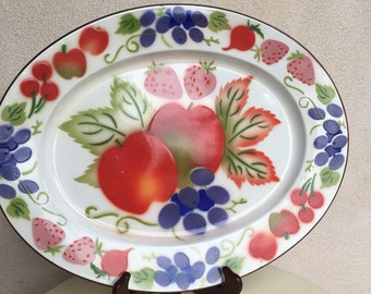 SALE Vintage tray platter large enamel metal Hong Kong colorful fruits