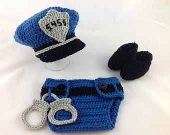 Baby Police Outfit - Newborn Police Set - Baby Boy Police - Police Baby Boy - Crochet - Photography Prop - Baby Policeman - Baby Shower Gift
