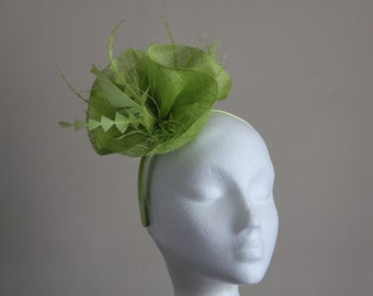 Apple Green Sinamay Wave Fascinator with Chevron Feathers on Hairband Weddings Races Kentucky Derby Ascot, Melbourne Cup