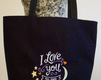 Black shoulder bag, I love you to the moon and back