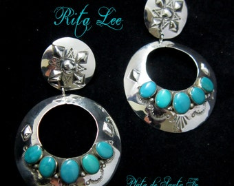 """Navajo~RITA LEE~ Large~Chunky~Super Sexy~3-D~Domed~Turquoise~925~Hoop Earrings 3"""" Tall x 1-7/8"""" Wide"""