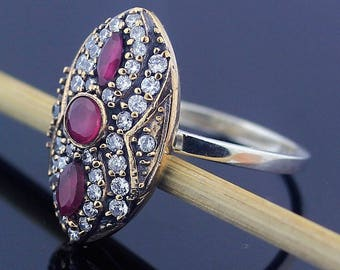 Handmade Topaz & Ruby Ring // 925 Sterling Silver Ring Size 8 Jewelry - R89