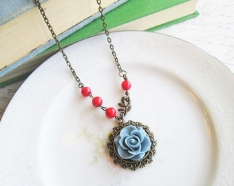 Vintage Inspired Flower Necklace, Dusty Victorian Blue Rose Necklace, Red Accent Beads, Antique Bronze