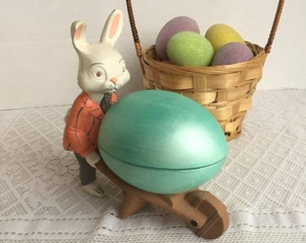 Ceramic White Rabbit / Collectible Easter Bunny with Egg Cart / Vintage Easter Gift