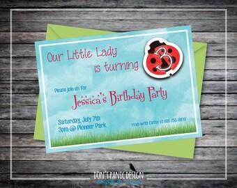 Printable Birthday Invitation - Lady Bug Invitation - Children's Birthday Party Invitation - Girl's Ladybug Invitation - 5x7 Kids Invitation