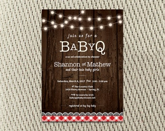 BABY-Q Twin - Wood - Gingham Baby Shower Invitation: Digital 5x7 Jpeg